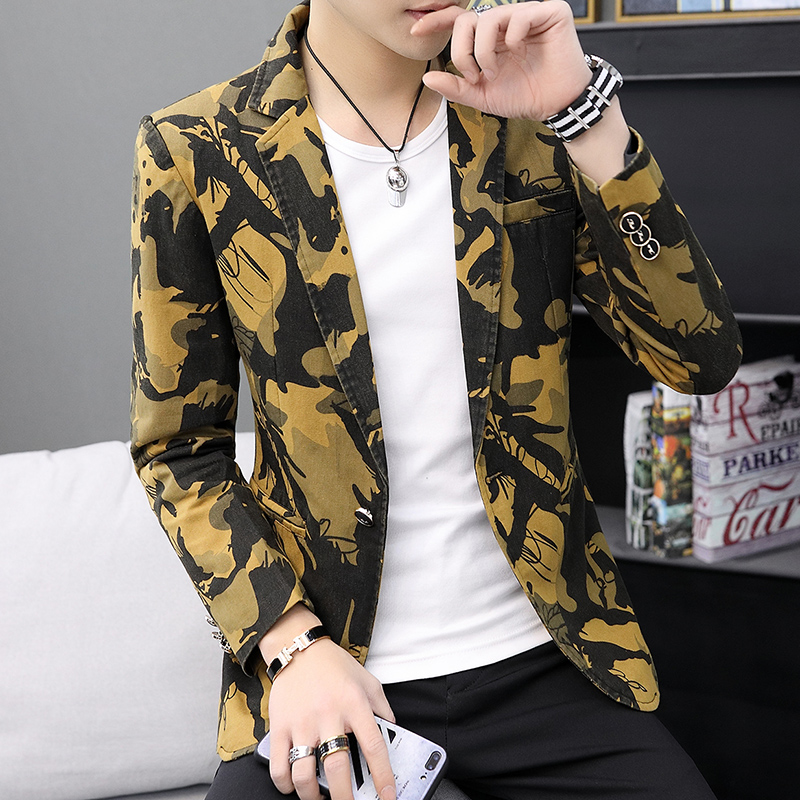 HO New 2019 Printed Blazer Men's Clothing Of Cultivate One's Morality Leisure Trend Spring Flowers Blazer