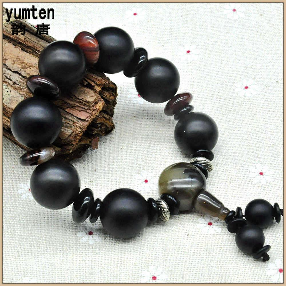Yumten Scrub Black Agate Bracciali Men Bracelet Armbanden Voor ...