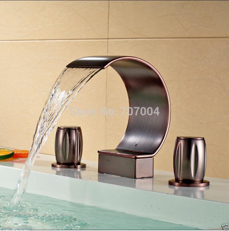Luxury Waterfall Bathroom Vessel Sink Basin Faucet Oil Rubbed Bronze Basin Mixer Tap