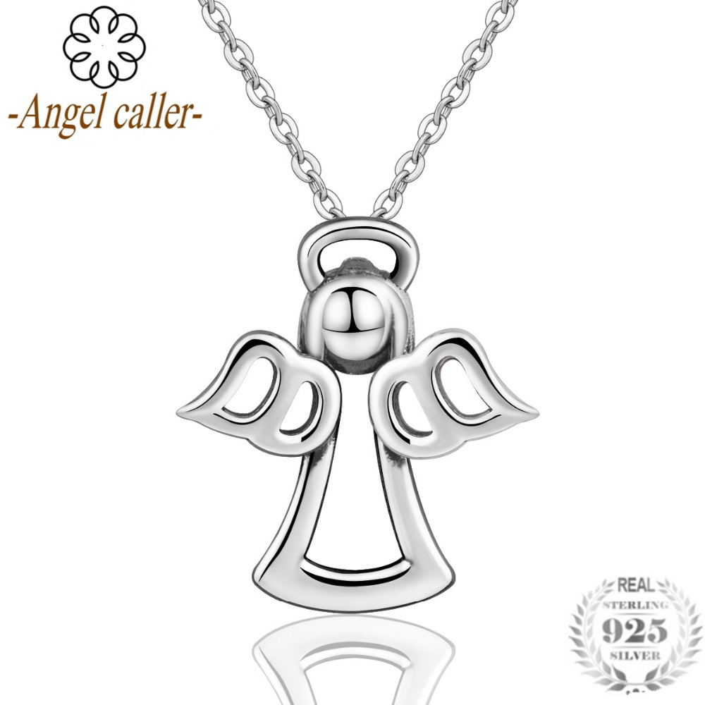 Angel Caller Authentic 925 Sterling Silver Guardian Angel Pendant Necklace for Women Fine Sterling Silver Jewelry 2018 New Style