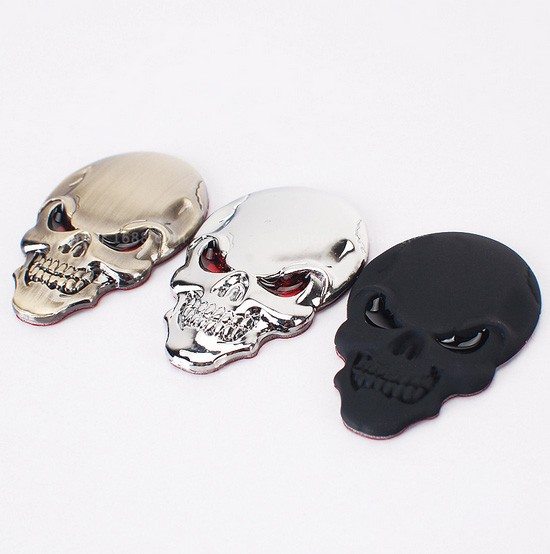 3 colors skull 3D stiker for car accessories styling