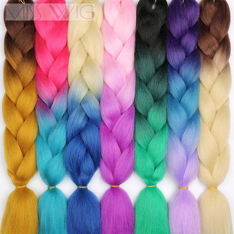 Miss Wig Ombre  Crochet Hair Jumbo Braids Hair Synthetic Hair Extensions For Women Pink Red Blue 102 Colors Available
