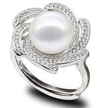 Snh aaa botón de 10-11mm 100% natural de agua dulce verdadera perla anillo de plata de ley 925 anillo genuine pearl cultivadas envío gratis