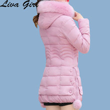 LIVA GIRL Winter Jacket Women's  2017 New Fashion Large Fur Collar Hooded Mid Long Section Slim Plus Thick Cotton-Padded Clothes