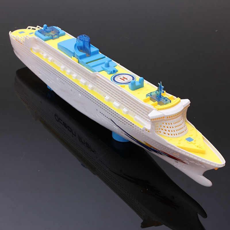 Светлая Музыка океан лайнер корабль модель мигающий Звук Электрический круиз для детей дети лодка игрушки подарок автоматический руль YJS падение