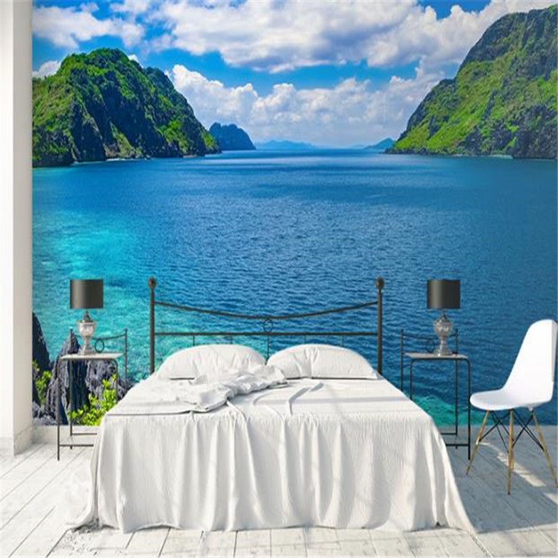 Custom Photo Wallpaper 3D Stereoscopic Murals Nature Landscape Walls Papers Blue Sky for Living Room Home Decor Bedroom Tree Sea custom 3d stereo ceiling mural wallpaper beautiful starry sky landscape fresco hotel living room ceiling wallpaper home decor 3d