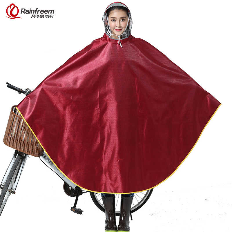 Rainfreem Impermeable Raincoat Women/Men Thick Bicycle Rain Poncho Plaid Oxford/Knitting Jacquard Women Waterproof Rain Gear