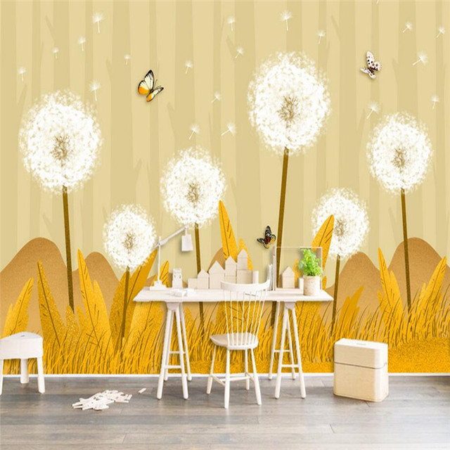 European Photo Wallpapers For Walls 3D Dandelion Floral Murals Gold ...