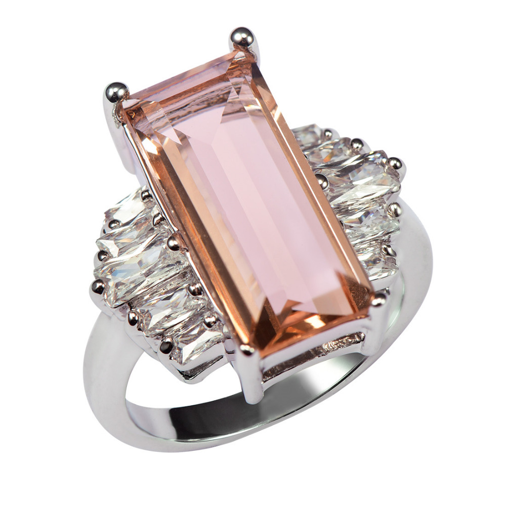 Factory price Huge Morganite With Multi White Crystal Zircon 925 Sterling Silver Ring For Women Size 6 7 8 9 10 11 F1465