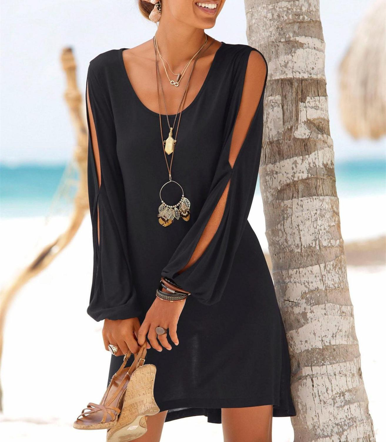 Five Color Black Casual Beach Dress Women O-Neck Hollow Out Sleeve Straight Solid Mini Dress Summer Clothes For Women 2019(China)