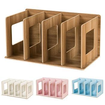 цены Simple Multi-Tier Bookshelf 4 Grids Creative Storage Shelf for Books Sundries DIY Wood Cabinet Desk Book Rack Home Children Book