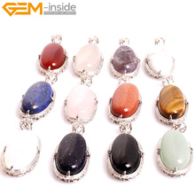Gem-inside  Natural Stone Pendants Necklaces  Ovel Shaped Pendants Necklace Gift For Friends for Women Selectable Material