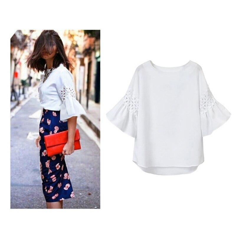 New Comfortable Summer Women Fashion Casual Ruffled Short Sleeve Hirt Loose Hollow Out Linen Blouse Tops Shirts