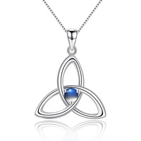 Natural Moonstone 925 Sterling Silver Irish Knot Pendant Necklace for Women Birthstone Jewelry