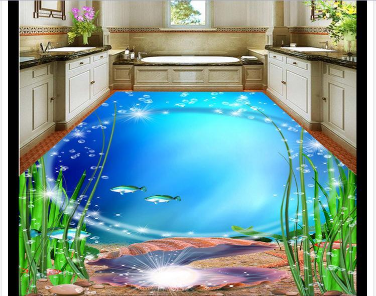 где купить Custom photo floor wallpaper The 3 d floor bathroom beautiful sea world 3d mural PVC wallpaper self-adhesion floor wallpaer по лучшей цене