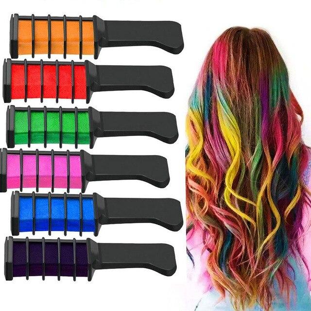 10 renk Saç Rengi Tarak Geçici kalem saç boyası Saç Rengi Tarak Boya Salon Parti Hayranları Cosplay Aracı Tek Kullanımlık Saç Rengi Aracı HB88