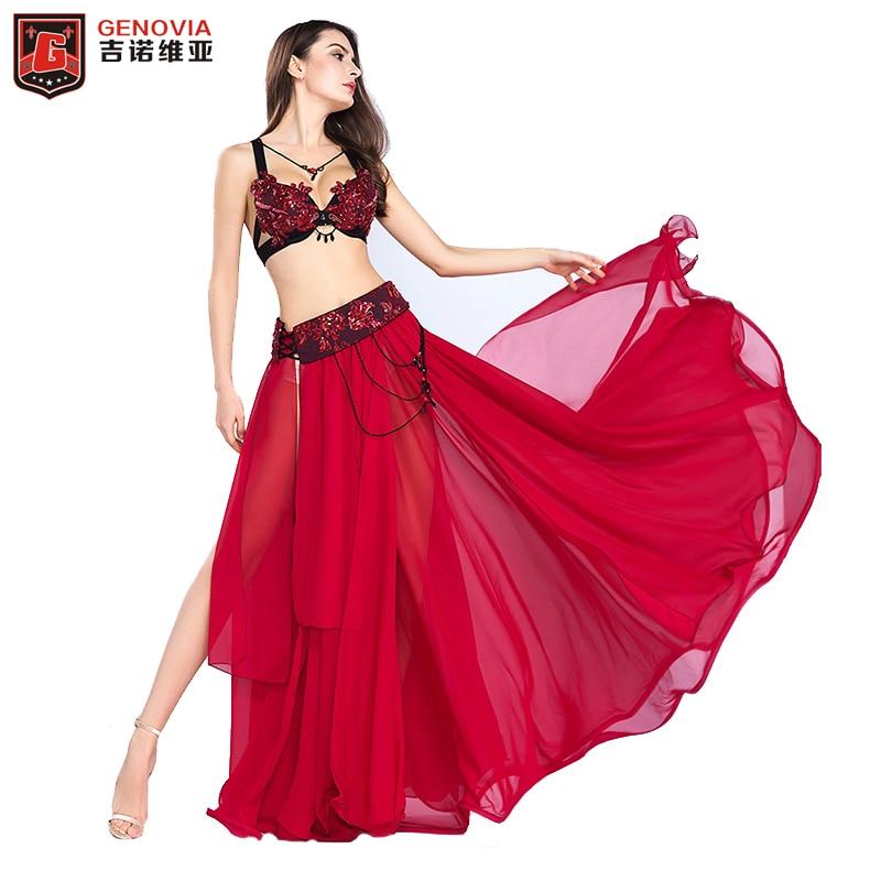 2018 New Arrival Belly Dance outfits Long Skirt Set Professional Women Elegant Belly Dance Costumes 3 Pics Bra&Belt &Skirt S M L