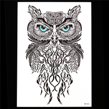 1pc Black Realistic Owl Design Tattoo Sticker Temporary Paste Paper Decal HB532 Beauty Women Men Flower Arm Body Back Art Tattoo