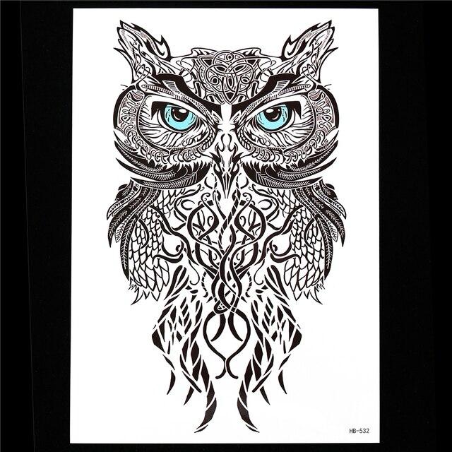 1pc Black Realistic Owl Design Tattoo Sticker Temporary Paste Paper Decal HB532 Beauty Women Men Flower Arm Body Back Art Tattoo