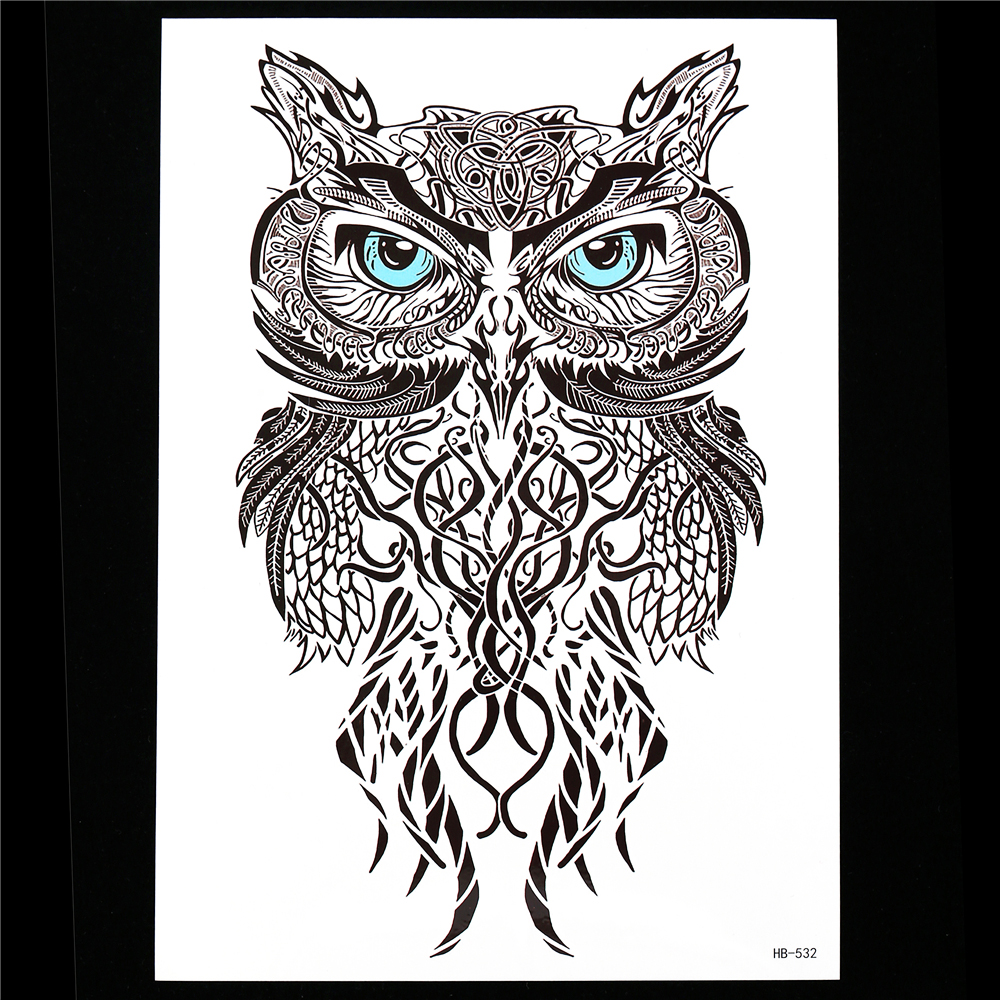 Compare prices on realistic paper flowers online shoppingbuy low 1pc black realistic owl design tattoo sticker temporary paste paper decal hb532 beauty women men flower dhlflorist Image collections
