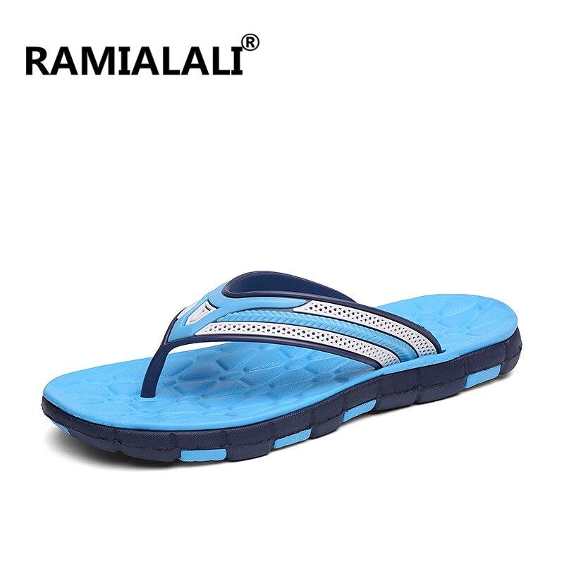 Ramialali/; мужские шлепанцы; летние шлепанцы; дышащая мужская обувь; модные сандалии; мужские вьетнамки; Повседневная обувь; большие размеры 40-45 - Цвет: Тёмно-синий