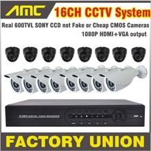 600TVL Bullet and Dome Camera CCTV 16CH Camera Kit Surveillance Security Systems 16 Channel DVR Recorder CCTV Kit 16ch DVR