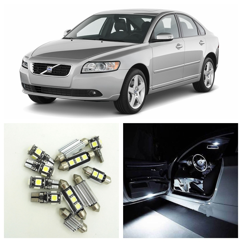 15pcs White Canbus LED Car Light Bulbs Interior Package Kit For 2007-2011 Volvo S40  Map Trunk Door Vanity Mirror No Error Lamp 16pcs canbus car white led light bulbs interior package kit for 2011 2012 2013 2014 2015 volvo s60 map dome trunk door lamp