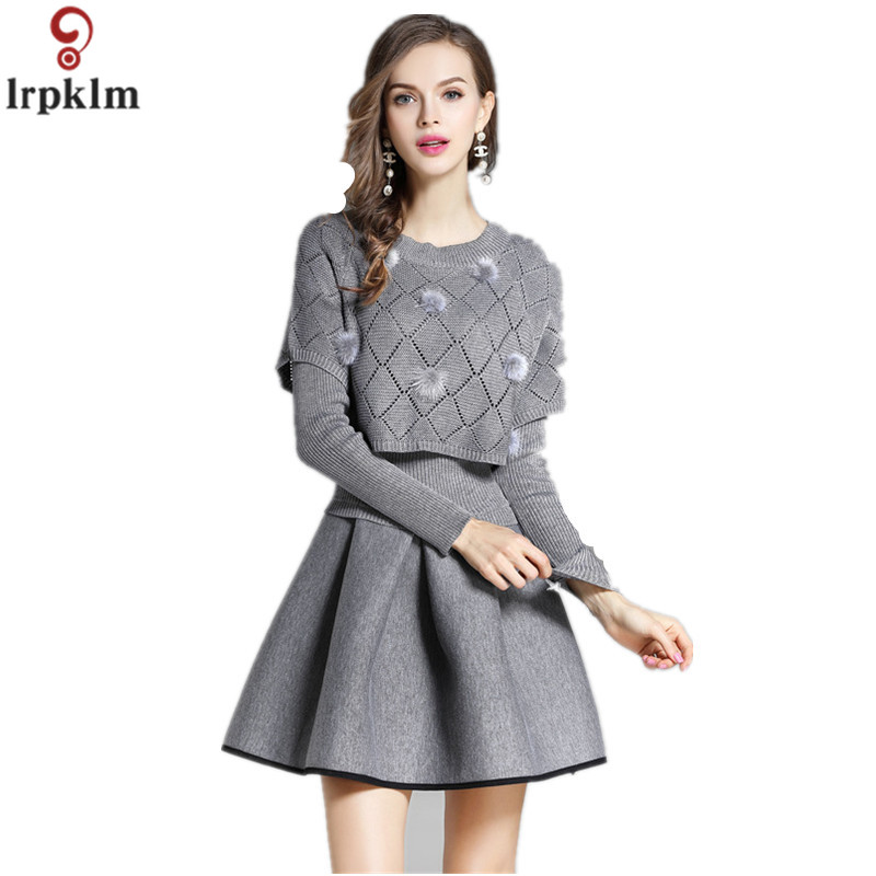Brand Ladies Autumn And Winter Gray   Dress 2017 New Knitted + Space Cotton Noble Wool Dress Set  LZ674