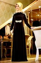 Black Hijab Long Sleeve Muslim Evening Dress with Gold Appliques Velvet Evening Gown abaya in dubai musulman robe de soiree
