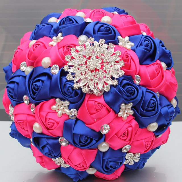 Satin flowers royal blue hot pink bridal bouquets shiny diamond satin flowers royal blue hot pink bridal bouquets shiny diamond brooch pearl artificial holding flower w278 mightylinksfo