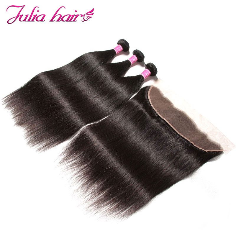 Ali Julia Indian Straight Human Hair 3 Bundles With Lace Frontal Closure 13 4 Pre Plucked