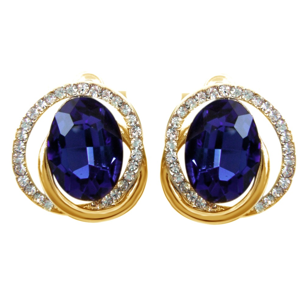 BLUE ZIRCON INTERSE CTANT CIRCLE CRYSTAL STUD EARRINGS 18K YELLOW GOLD OVER pair of zircon gold plated stud earrings