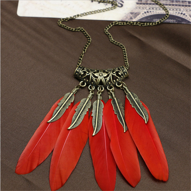 Red Black Flying Feather Necklace