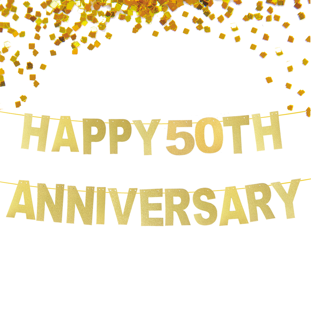 Glitter Gold Happy 50th Anniversary Banner, Wedding Anniversary ...
