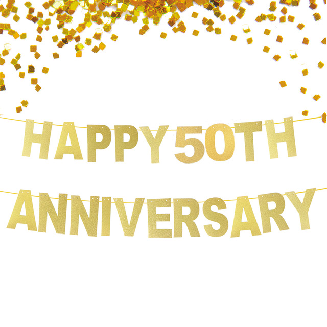Glitter Gold Happy 50th Anniversary Banner, Wedding Anniversary