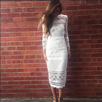 2018 Summer Autumn Women White Lace Dress Hollow Out Elegant Vintage Black Long Sleeve Bodycon Female Sexy Dress