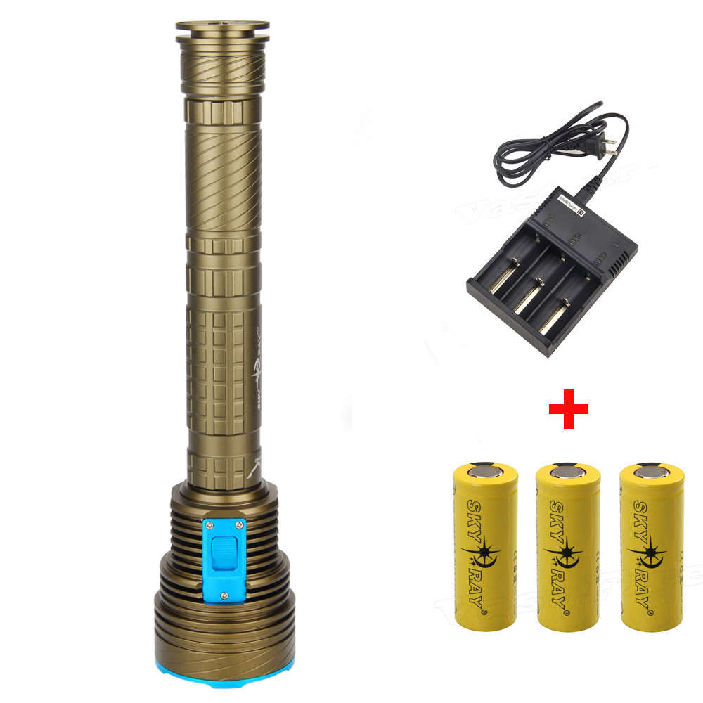 Super Bright Underwater 100M Torch 18000lm 9x  XM-L2 LED Diving Flashlight +3X 2660 Rechargeable Battery+Charger 3800lm cree xm l2 u2 led flashlight torch super bright diving torch lamp light underwater 50m professional waterproof lights