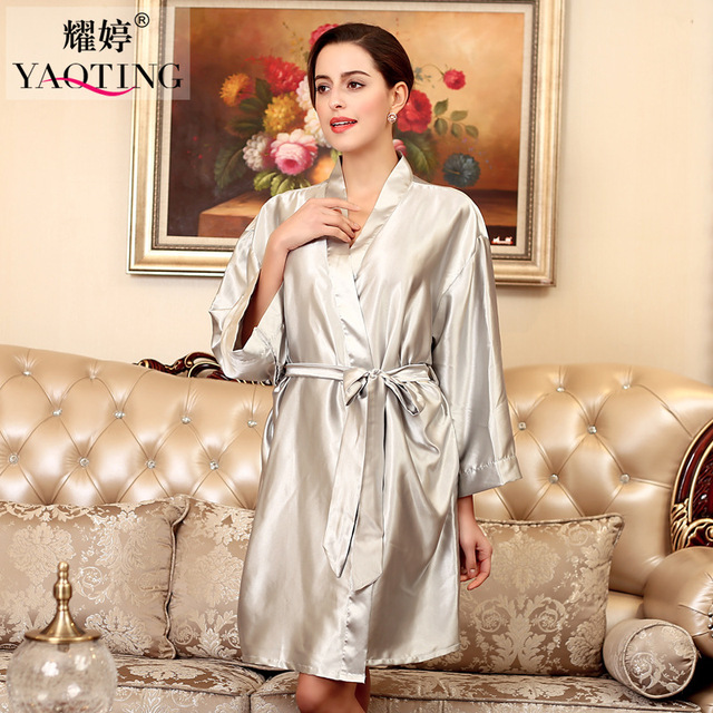 1d54debe23 12 Color Plus Size Silk Satin Robe Bathrobe Longue Femme Autumn Women Sexy  Robes Nightgown Nightwear