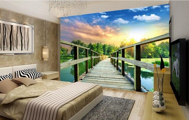 Natuur Behang Slaapkamer : Custom natuur behang houten gang 3d stereoscopische behang voor