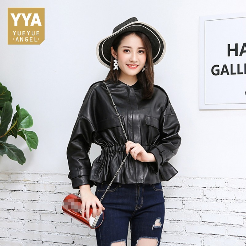 2019 New Autumn Winter Womens Genuine Leather Jacket Elastic Waist Ruffles Slim Fit Outerwear Business Office