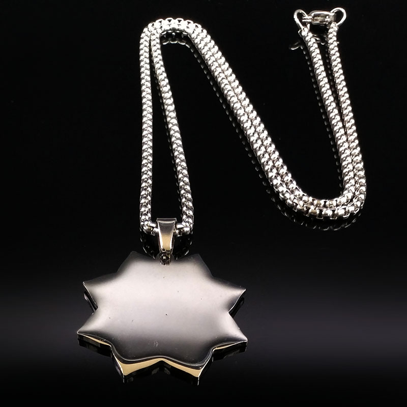2019 Fashion Yoga Lotus Stainless Steel Statement Necklace Women Black Silver Color Spirit Necklace Jewelry collares N18314 in Pendant Necklaces from Jewelry Accessories