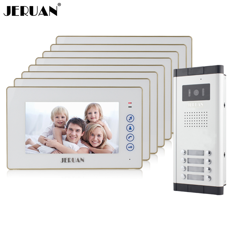 JERUAN Apartment Doorbell 7`` Touch key Video Door Phone Intercom System 8 White Monitor 700TVL IR Night Vision Camera In stock jeruan home 7 video door phone intercom system kit 1 white monitor metal 700tvl ir pinhole camera rfid access control in stock