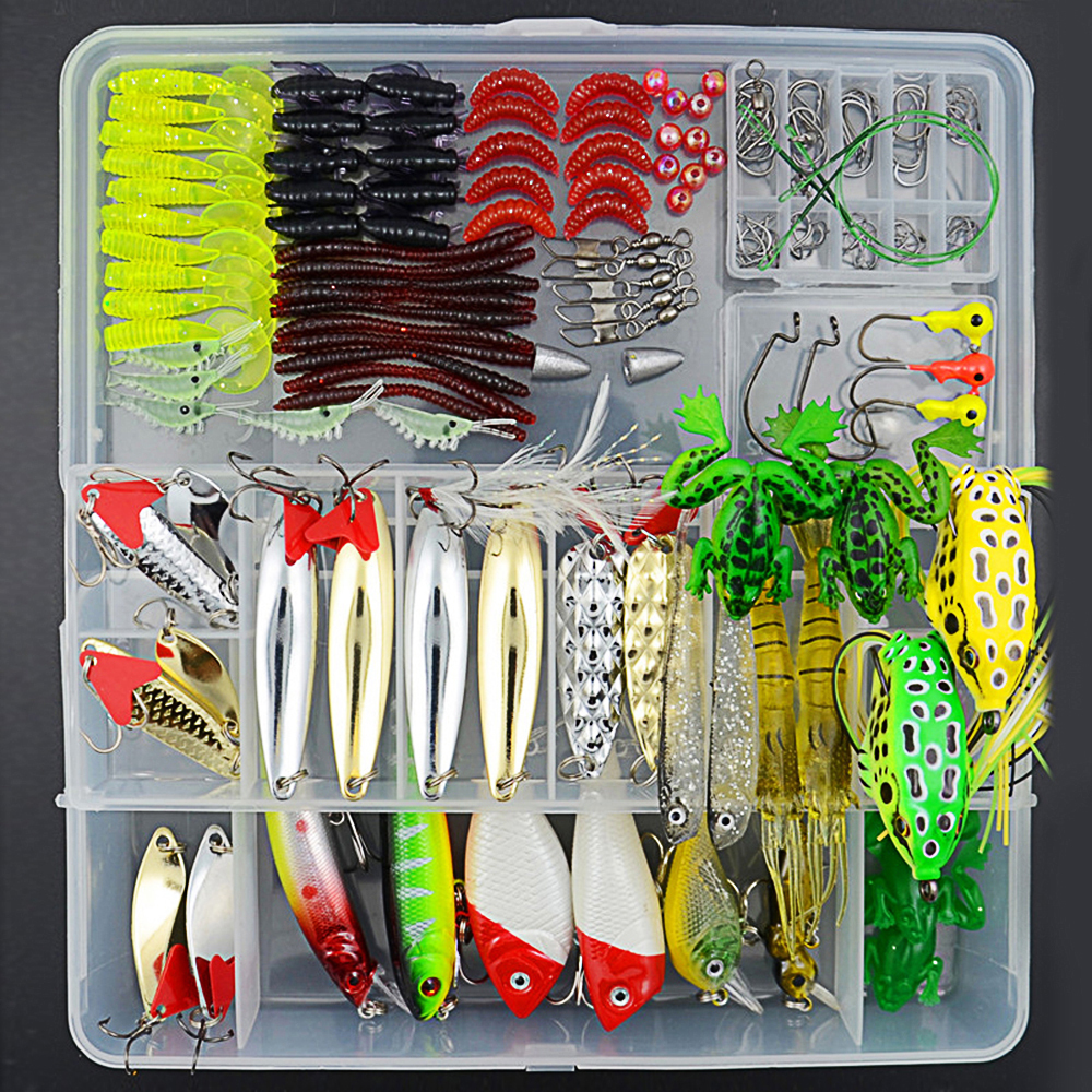 ФОТО 168pieces/lot Fishing Lure Kit Include Artificial Bait Frog Lure Spinner Bait Spoon Popper Wobblers Soft Lures Jig Hook
