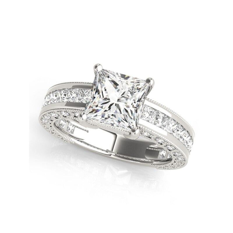 COLORFISH véritable 925 argent Sterling princesse coupe 1.6ct cubique zircone bande de mariage Solitaire bague de fiançailles ensembles de mariée - 2