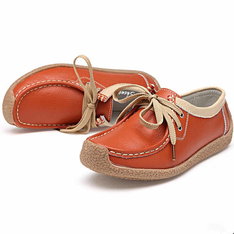 Koovan kadın Hakiki Deri Daireler Kalın Alt anne ayakkabısı Genç Bayan Tendon Yumuşak Alt kaymaz Rahat Fasulye Ayakkabı
