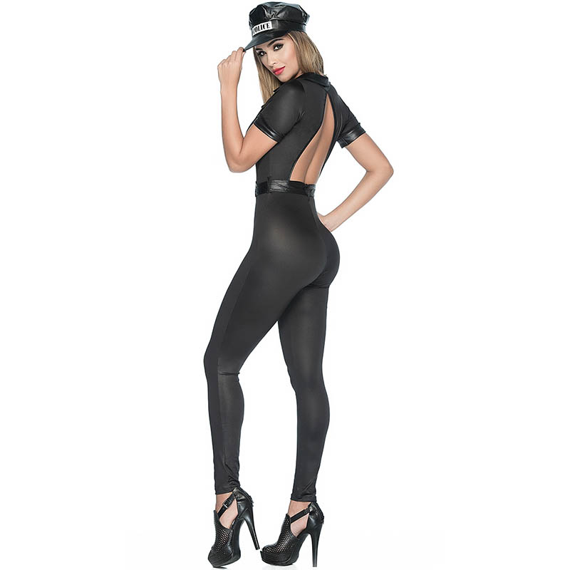22a1d1af526e S-L Women Sexy Clubwear Jumpsuit Fancy Dirty Police Cops Costume Open Back  Hot Black With Hat Female Fetish Catsuit For Ladies