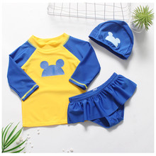 Funfeliz Long Sleeve Girls Two Pieces Swimwear Skirted Swimsuit with Swimming Cap UV Protection 3 Pcs Bathing Suits for