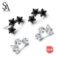 цена SA SILVERAGE 925 Sterling Silver Star Crystal Stud Earrings AAA Zirconia 925 Silver Earrings for Woman Fine Jewelry онлайн в 2017 году