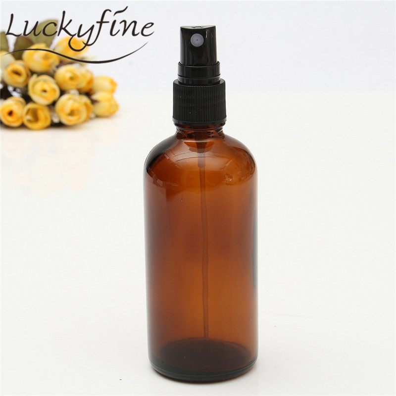 100ml Glass Amber Lotion Pump Atomizer Bottle Essential Oil Perfume Water Vial Black Lid Spray Bottles Women Cosmetic Container perfume bottle sprayer pump lid cap seal crimping machine pliers tool for 13mm 15mm 20mm optional
