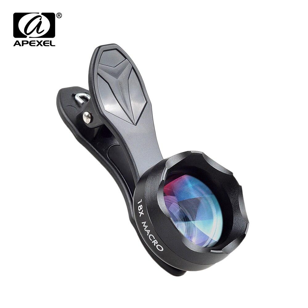 APEXEL Clipe Universal em HD 18X Fotografia Lente Macro Lente Do Telefone Móvel micro lentes Para iPhone Lente do telefone móvel